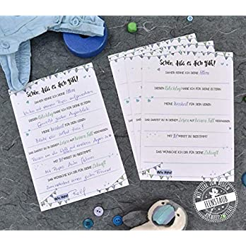 Gästebuch-Karten zum Ausfüllen als Geschenk für Babyparty Baby-Shower Geburt und Taufe blau