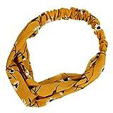 Qinlee Elastische Stirnband Blumen Muster Haar Accessoires Mädchen Haarband Modegeschenk Sport Haar Band Frisuren Haar Accessoires (Gelb)