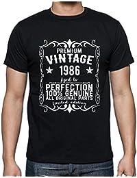 Premium Vintage Year 1986, tshirt homme anniversaire, homme anniversaire tshirt, millésime prime tshirt homme, cadeau homme t shirt