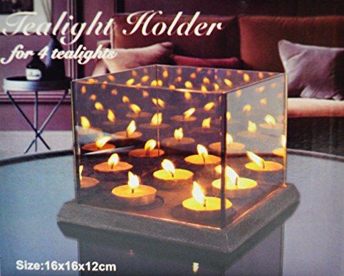 Teelicht Spiegel (BEDO TRADE Teelichthalter für 4 Teelichter mit 3D Effekt und magischen Kerzenschein durch verspiegelte Glaswände)