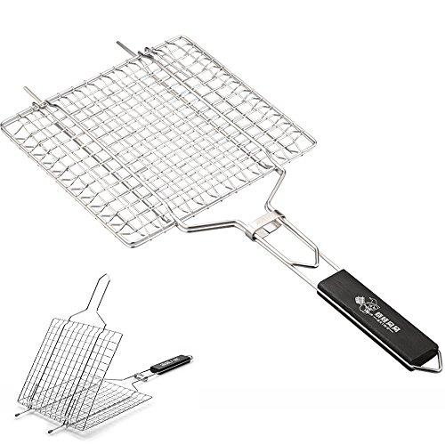 ue Werkzeug Edelstahl mit Holzgriff Grill Basket für Fleisch Fisch Wurst Gemüse usw. (1) ()
