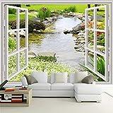 Benutzerdefinierte Wandbild Tapete Moderne Einfache 3D Fenster Garten Kleine Fluss Blume Gras Fresko Wohnzimmer Schlafzimmer Foto Tapeten, 250 * 175 cm