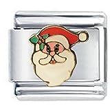 Ciondolo con faccia di Babbo Natale, di stile italiano, compatibile con Nomination Classic