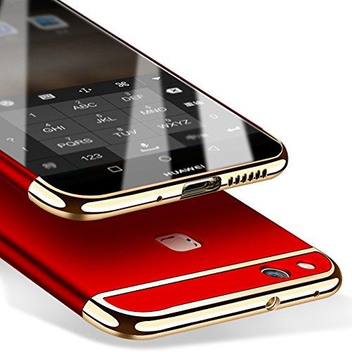 Coque Huawei P10 Lite 5,2 pouces, MSVII® 3-in-1 Design PC Coque Etui Housse Case et Protecteur écran Pour Huawei P10 Lite 5,2 pouces (Pas compatible avec Huawei P10) - Or rose JY50022 Rouge