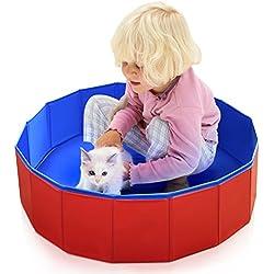 Pidsen Piscina Perros, Bañera Perro Piscina Mascotas Plegable Portátil para Duchar Nadar Jugar para Perros Gatos Niños