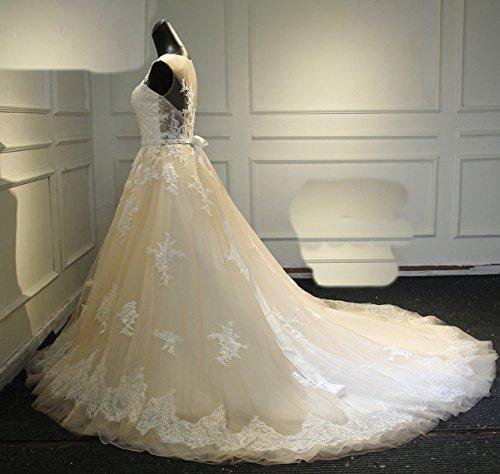 CoCogirls Sexy A-Line Spitze Applique Jahrgang Hochzeitskleid Romantisch Brautkleid Brautkleider Hochzeitskleider Champagne