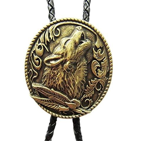 Scheppend Fashion Handmade Bronze Wolf in Moonlight Western Cowboy Bolo