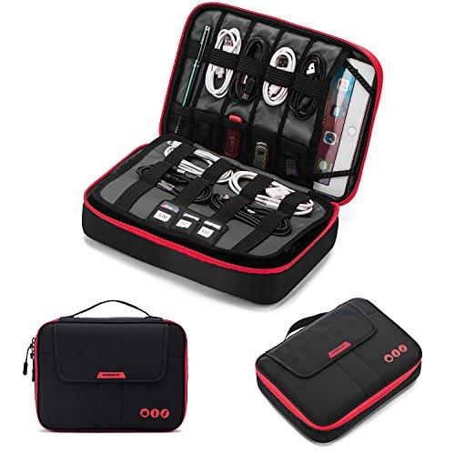 bagsmart Elektronik Zubehör Tasche, Elektronische Tasche Reise Doppelte Schichte für Ladegerät, Kabel, iPad, iPad Air, Tablet bis zu 9,7 Zoll, Adapter, Maus, SD Karten(Schwarz)