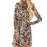 Fanxing Damen Kleid Sexy O-Ausschnitt Leopard Printed gekräuselten Langarm Party Wrap Maxikleid (S, Braun)