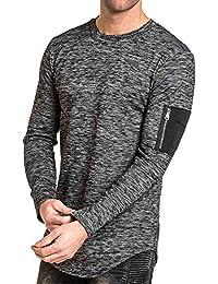 BLZ jeans - T-shirt épais homme noir chiné poche bomber