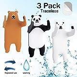 Ulinek Saugnapf Haken Handtuchhaken für Kinder, 1000 Mal Wiederverwertbar Panda Haken Ohne Bohren, Selbstklebend Haken, Max 500G -3 Stück
