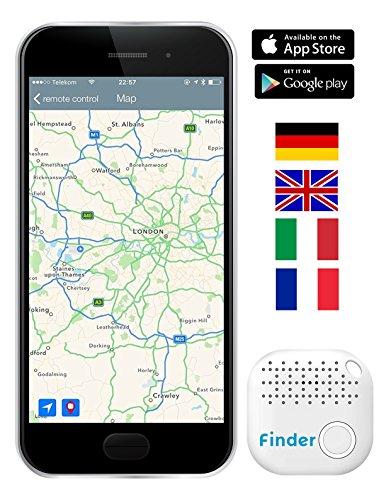 Musegear® Schlüsselfinder mit Bluetooth App I Version 2 I Keyfinder laut für Handy in weiß I GPS Ortung / Kopplung I Schlüssel finden