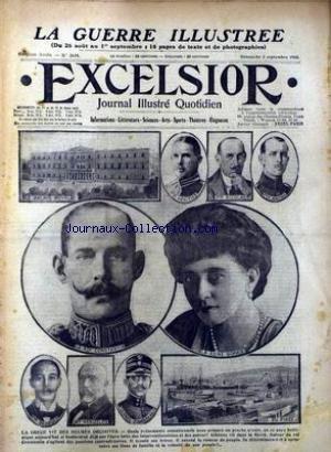 EXCELSIOR [No 2119] du 03/09/1916 - LES PRINCES - NICOLAS - ANDRE - HERITIER - LA REINE SOPHIE - LE ROI CONSTANTIN - PRINCE GEORGES - M. VENIZELOS - COLONEL ZIMBRAKAKIS - LA GRECE.