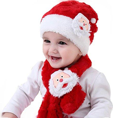 Kinder Mützen und Schals,Stillshine Baby Junge und MädchenWeihnachtsmützen Plüschbohnen Beanie und Schal Weihnachtsdekoration 2-teiliger (Für Kostüme Jährige Zwei Niedliche)
