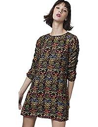 d0a5a954ff4 Compañia Fantastica - 5 Vestido Negro Estampado Flores XL