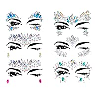 Face Tattoo Gems,Women Mermaid Rave Festival Glitter, Rhinestone Temporary Tattoo Face Jewels Crystals Face Stickers eyebrow Face Body Jewelry