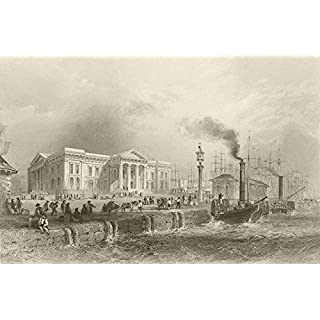 Greenock, with the custom house. Scotland. BARTLETT - 1842 - old antique vintage print - art picture prints of Scotland