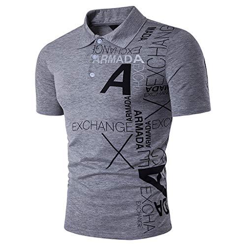 Armanis Polo d'été pour Hommes,Polo imprimé en Coton avec Alphabet, T-Shirts Tout-Aller décontractés,B,L