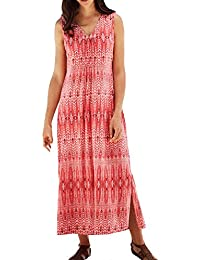 Ladies Crinkle Sleeveless Coral Maxi Dress in UK Women's Sizes 8 up to Plus Size 38