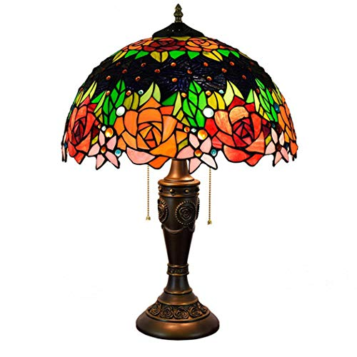 W&HH Vintage Tiffany Tischlampen, Glasmalerei Lampen Muster handgemachte Rose Schlafzimmer Nacht Lampenschirme Wohnzimmer modern (Für Glasmalerei Muster)