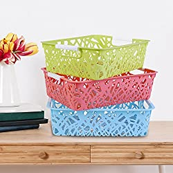 Kurtzy Plastic Storage Basket boxes organizer container bin for fruits vegetable Utensils Kitchen Assorted 29x21x8CM SET OF 3