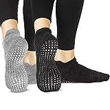 LA Active Grip Chaussettes Antidérapantes - Pour Yoga Pilates Barre Ballet Femme Homme (Gris Ardoise et Noir Stellaire, 34-36.5 EU)
