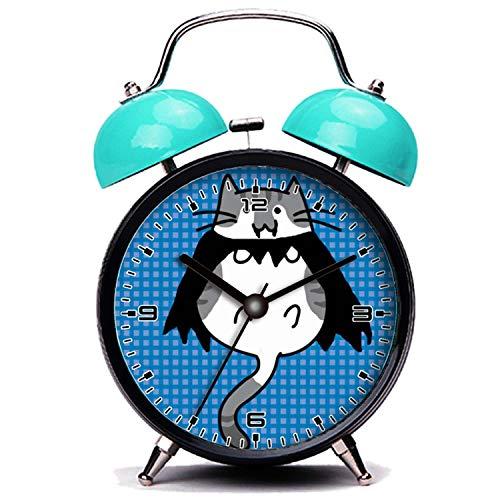 girlsight Blauer Wecker, Nette Katze Süße Halloween Katze Vampir Kostüm Twin Bell Wecker mit Nachtlicht (Für Gute Jungs Halloween-kostüme 2019)