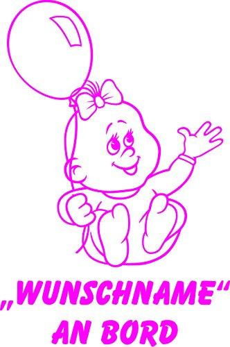 INDIGOS UG - Babyaufkleber / Kinderaufkleber 080 mit Wunschname / Wunschtext an Bord ca. 20 cm Höhe - Autoaufkleber in verschiedenen Farben
