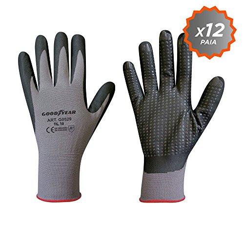 guanti da lavoro goodyear Confezione da 12 guanti Goodyear in filato di nylon elasticizzato con palmo ricoperto in schiuma di nitrile taglia 10