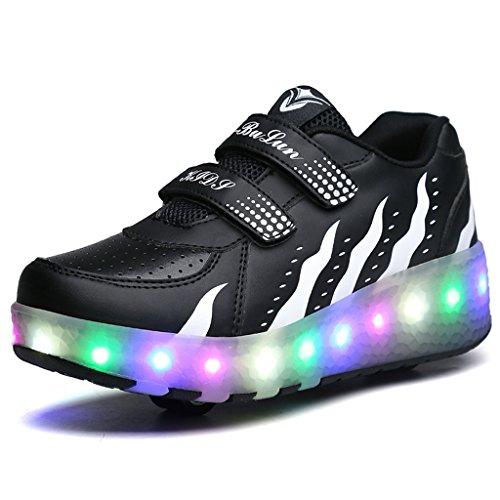 BELECOO Skateboard Schuhe Turnschuhe Jungen und Mädchen Wanderschuhe Rollschuh Schuhe mit LED-Skateboard Lichter blinken Schuhe Räder Schuhe