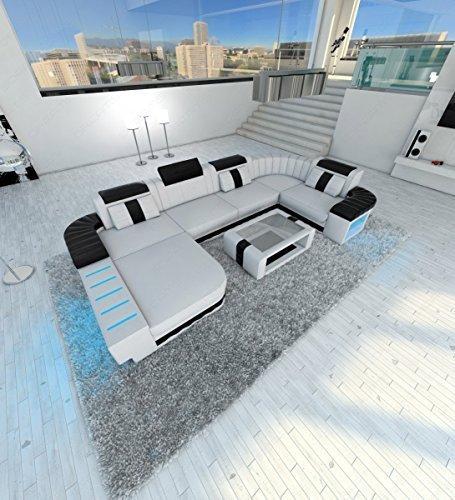 Designer Wohnlandschaft Bellagio LED U-Form