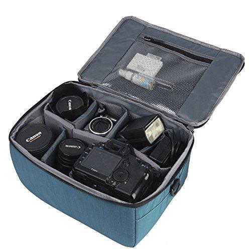 Neuleben Wasserdicht Stoßfest Objektivtasche Groß Gepolsterte Schutztasche für Spiegelreflexkamera SLR DSLR (Blau)