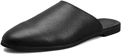 Mocassini Casual da Uomo Moda Scarpe da Guida All'aperto Sandali in Pelle Traspirante Estate Mezze Pantofole Antiscivolo Appartamenti in Gomma da Uomo