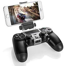 Link-e : Support universel smartphone/téléphone/mobile avec câble micro USB pour manette sans fil PS4 (pince, clip, Samsung, Android, HTC, Sony...)