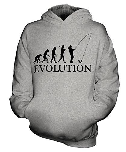 CandyMix Angeln Fischfang Evolution Des Menschen Unisex Kinder Jungen/Mädchen Kapuzenpullover, Größe 5-6 Jahre, Farbe Grau Meliert