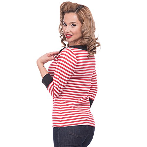 Steady Clothing Damen Retro Bluse mit Schleife - Striped Boatneck Rockabilly Oberteil 3/4 Arm Rot M -