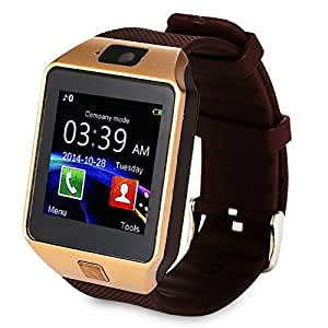 Mobilefit Bluetooth Smartwatch (Gold) With Camera & Sim Card Support & Supporting Apps Like Twitter, Whats App, Facebook, Touch Screen Multilanguage Android/IOS Mobile Phone Wrist Watch Phone with activity trackers and fitness band features Compatible for Lenovo A526
