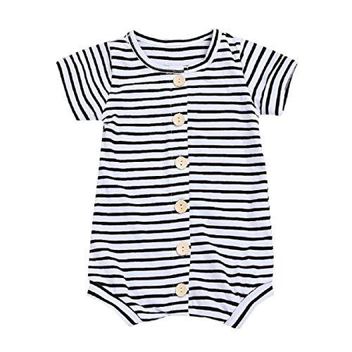 Liusdh 2019 Kinder-Kleidung, Strampelanzug, für Neugeborene, Babys, Kleinkinder, Jungen, Mädchen und Jungen, Sommer, kurzärmelig, gestreift Floral Short Sleeve Romper
