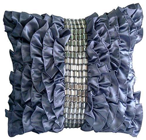 Luxus Lila Euro-Schein, 65x65 cm Euro Shams, Vintage Style Rüschen Mit Kristallen Shabby Chic Euro Kissen Shams, Satin Euro-Schein-Abdeckungen, Solide Modern Euro Shams - Diamonds N Dreams -