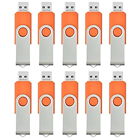 AreTop 10 stück 4GB USB Stick Speicher high speed USB 2.0 (Orange)