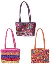 Piccola borsa borsetta in tessuto lucido colorato ricamata indiana con perline
