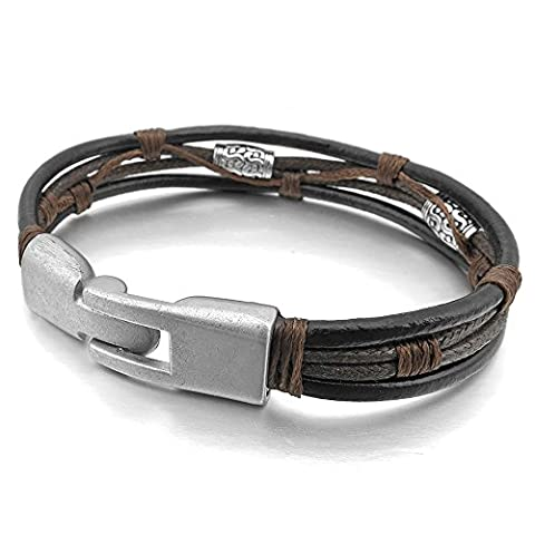 Flying Rabbit Herren Schwarz Leather Lederband Geflochten Bracelet Fashion Herren armband Schmuck (1)