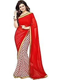 Women's Clothing Designer Party Wear Todays Lower Price Offer Red & White Georgette Wedding Saree With Blouse...