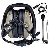 SGOYH - Auriculares tácticos Impermeables con micrófono y Conector PTT estándar, DE.