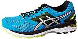 Asics Mens GT-2000 4 Blue Jewel, Black and Safety Yellow Running Shoes - 6 UK/India (40 EU)(7 US)