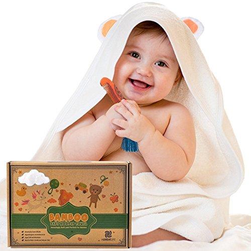 aGreatLife Bambus-Kapuzenhandtuch Mit Gratis Kamm - Bestes Bio-Bambus- Baby-Kapuzenhandtuch - Extre Sanftes Kapuzenhandtuch - Baby-Bambus- Kapuzenhandtuch Hält Das Baby Trocken Und Warm - Umweltfreundliche Baby-Badetücher Mit Kapuze (Kapuzen-badetücher Für Baby Mädchen)