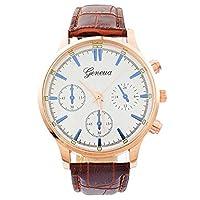 Souarts Mens Gold Color Case Artificial Leather Watch Unique Quartz Analog Business Wrist Watch
