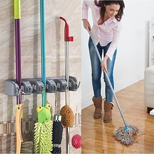 Angel Bear Mop Holder and Broom Holder, 4 Slot Position with 5 Hooks Garage Storage Holder Wall Mounted