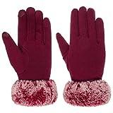 Lipodo Elegance Damenhandschuhe Handschuhe Fingerhandschuhe für Damen mit Futter, Futter Winter (8 HS - bordeaux)