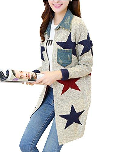 Femmes Imprimé Cardigan Long Tricoté À Manches Longues Col Denim Sweater Pull Gilets Manteau Veste Gris Clair